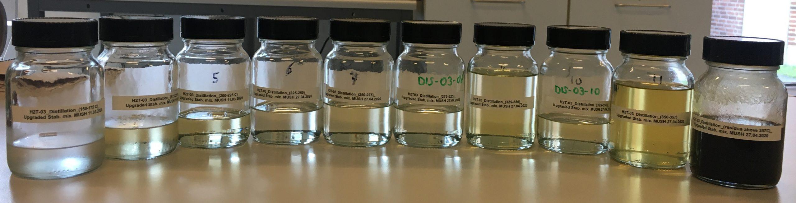 Fuel products distilled from upgraded HTL biocrude. Photo: Muhammad Salman Haider. Copyright: Aalborg University