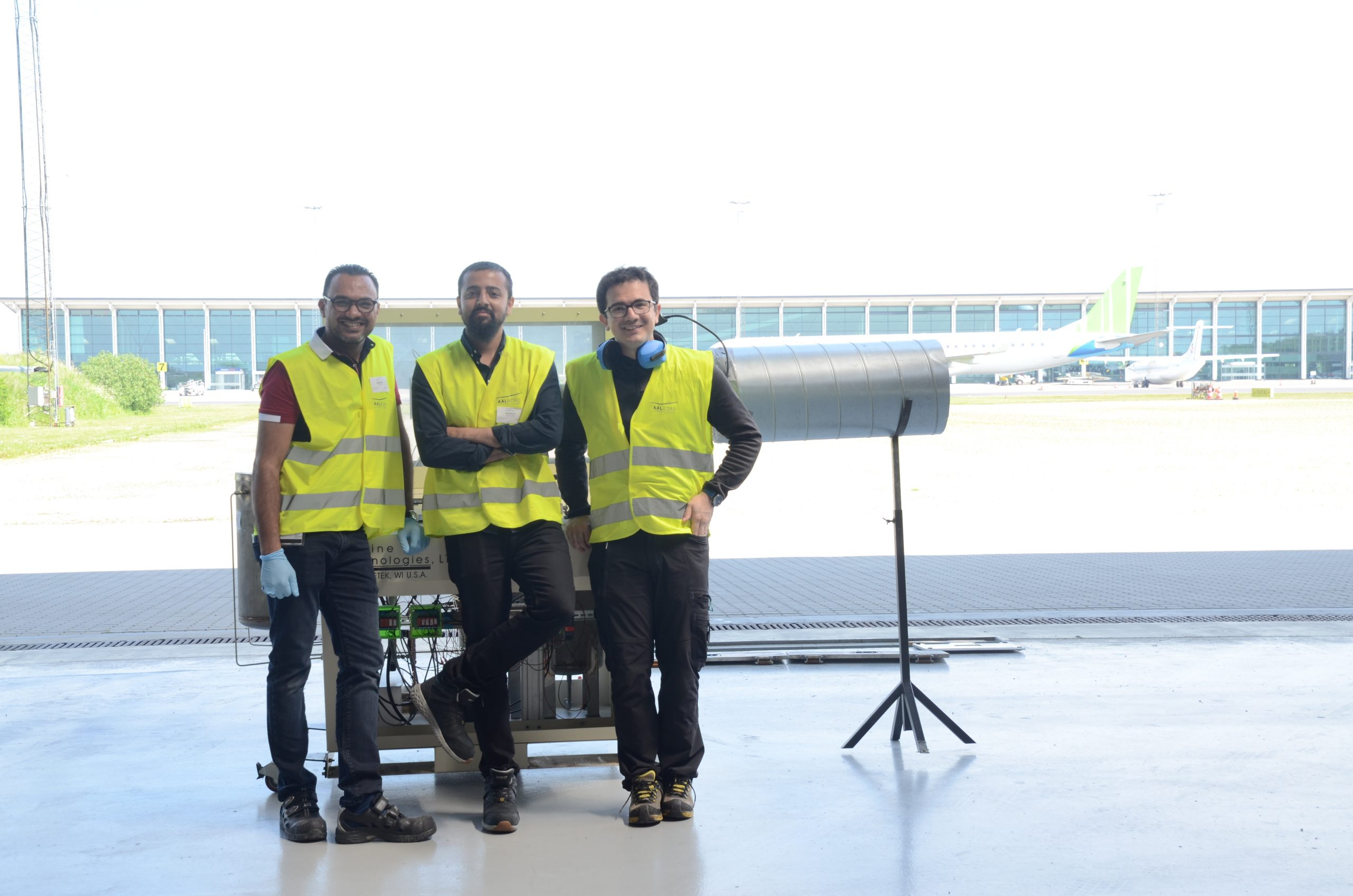 The research team at Aalborg University during the turbine test of the produced sustainable aviation fuel. Photo: Muhammad Salman Haider. Copyright: Aalborg University